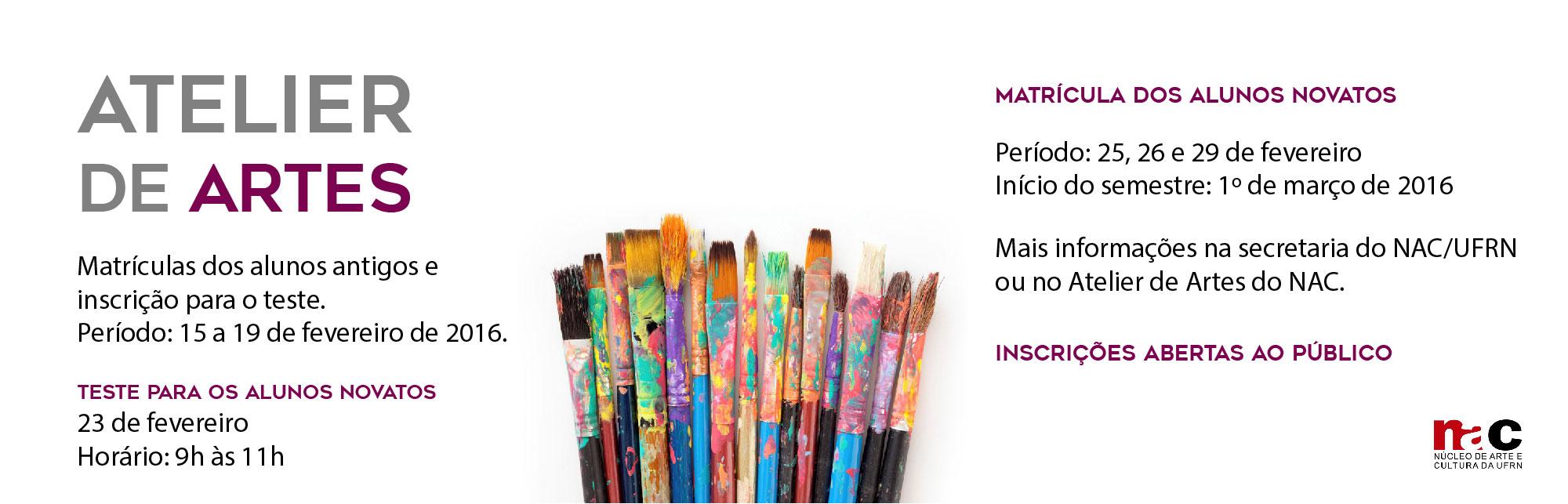 Inscrições abertas para o Atelier de Artes do NAC