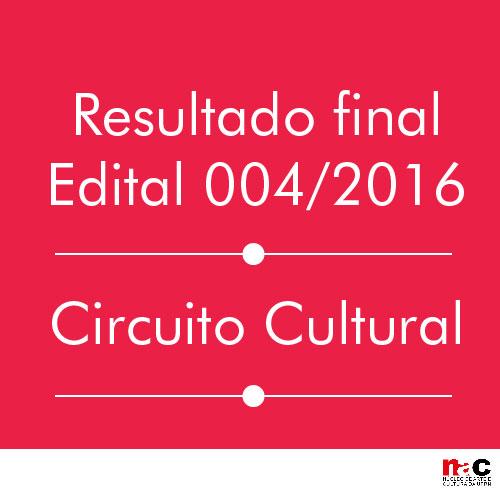 Resultado final do Edital 004/2016 - Circuito Cultural