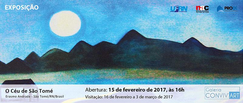Exposição de Erasmo Andrade na Galeria Conviv'Art, dia 15 de fevereiro às 16h.