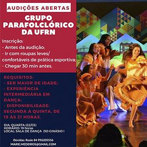 Seleção de novos bailarinos para o grupo Parafolclórico da UFRN.