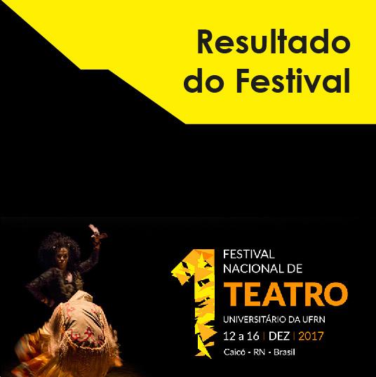 Resultado da seleção dos espetáculos do 1º Festival Nacional de Teatro Universitário da UFRN - 2017