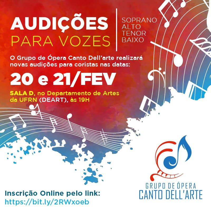 Audições para Grupo de Ópera Canto Dell'arte