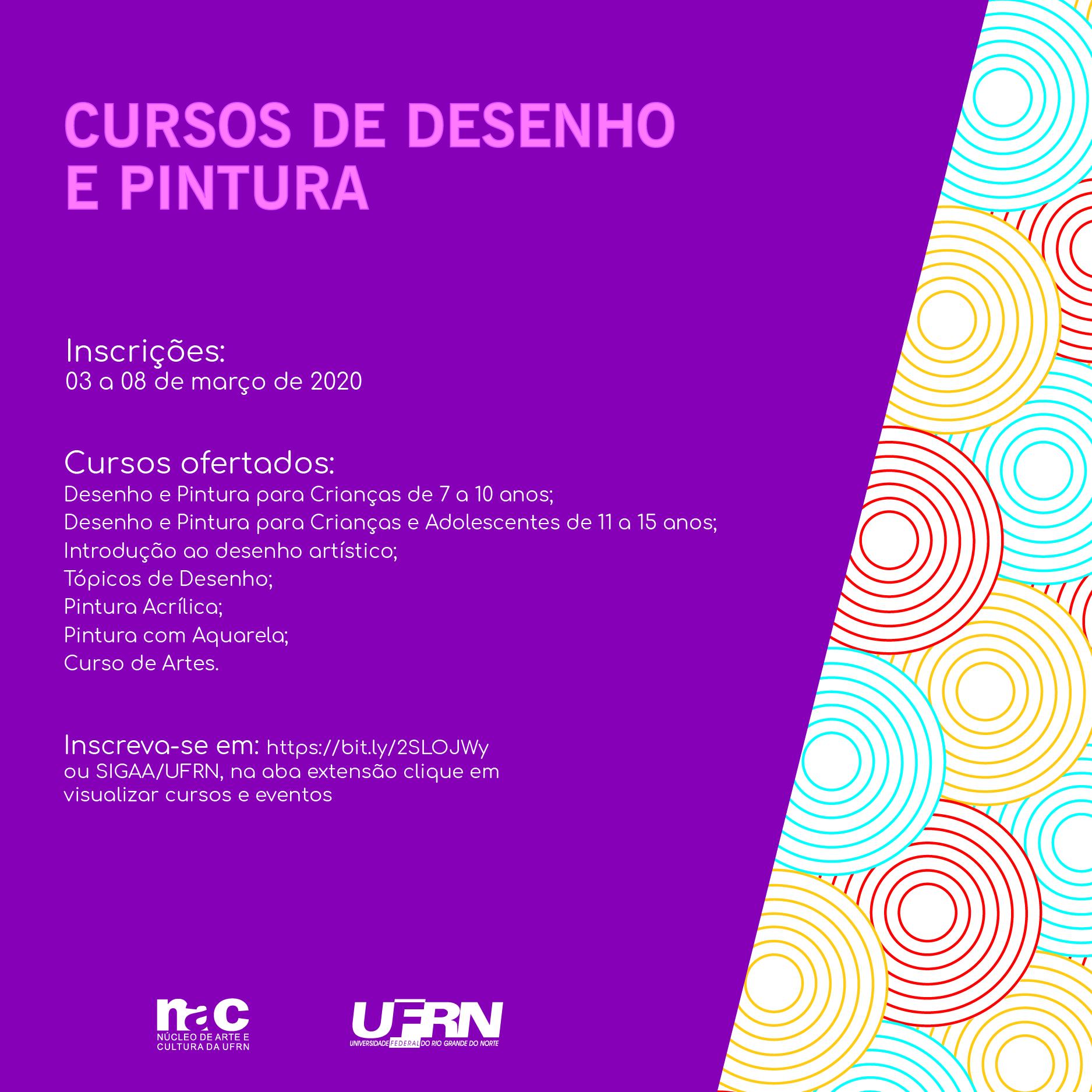 Edital para inscrição e matrícula nos cursos do Atelier de Artes do NAC/UFRN 2020-1