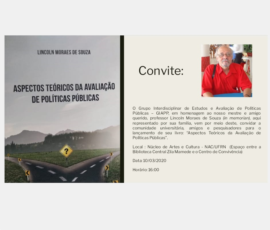 """Lançamento do livro: """"Aspectos teóricos da avaliação de políticas públicas"""" de Lincoln Moraes de Souza"""